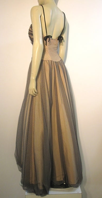 50s Will Steinman Tulle Gown in Nude and Black w/ Bubble Hem For Sale 1