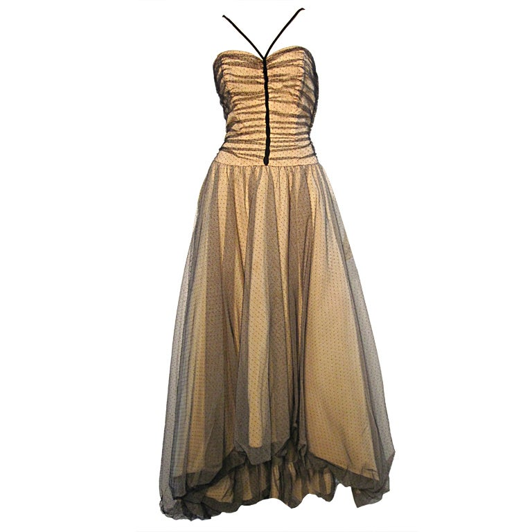 50s Will Steinman Tulle Gown in Nude and Black w/ Bubble Hem For Sale