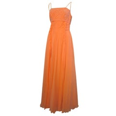 70s Helen Rose Coral Silk Chiffon Gown w/ Butterfly Tie Overlay