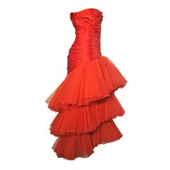 A Fabulous 80s Fire Engine Red Alfred Bosand Silk Flamenco Gown