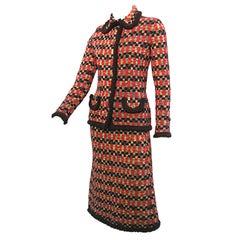 70s Adolfo Gorgeous Knit Suit with Yarn Fringe Trim!