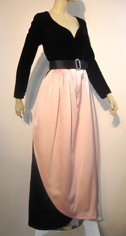Bill Blass Velvet and Satin Tulip Skirt Belted Gown 2