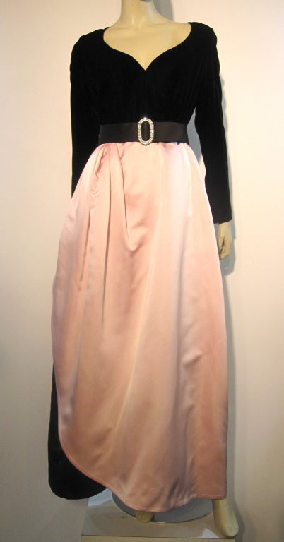 Bill Blass Velvet and Satin Tulip Skirt Belted Gown 3
