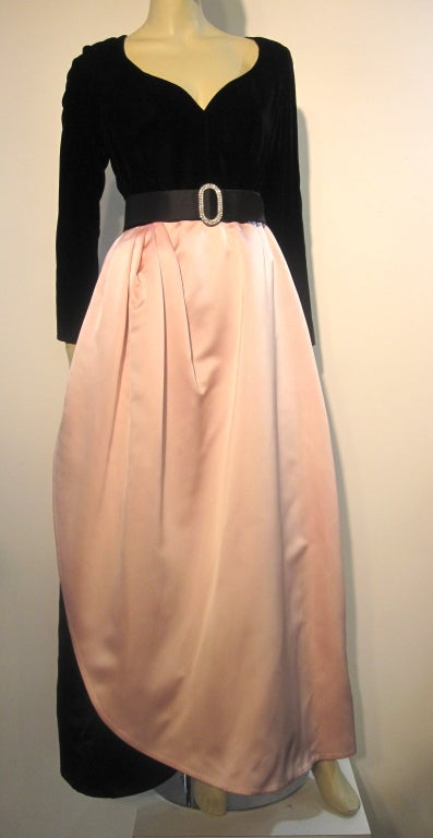 Bill Blass Velvet and Satin Tulip Skirt Belted Gown 4