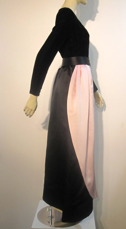 Bill Blass Velvet and Satin Tulip Skirt Belted Gown 5