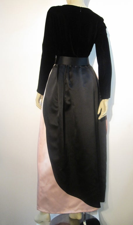 Bill Blass Velvet and Satin Tulip Skirt Belted Gown 6
