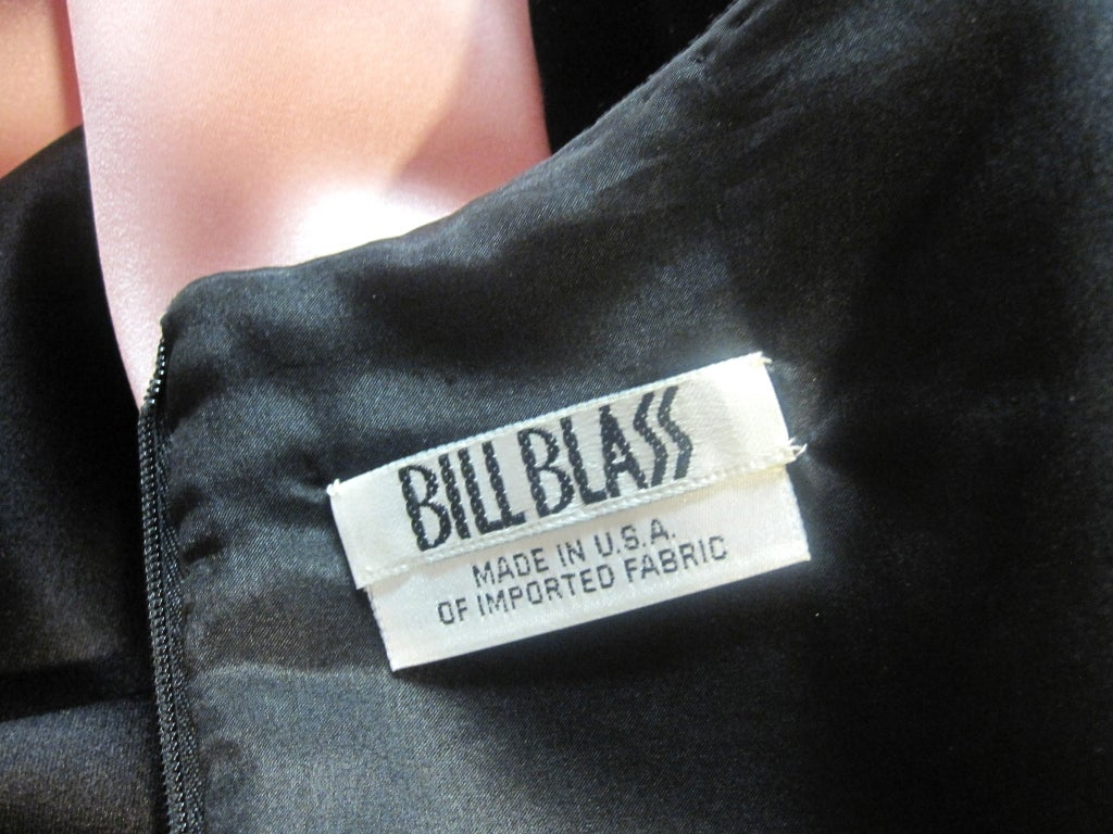 Bill Blass Velvet and Satin Tulip Skirt Belted Gown 9