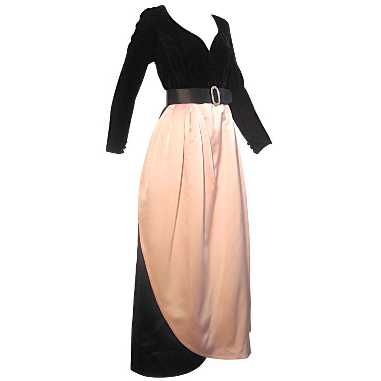 Bill Blass Velvet and Satin Tulip Skirt Belted Gown