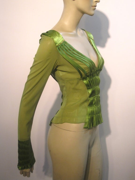 Gucci Peridot Green Chiffon and Satin Blouse For Sale 1