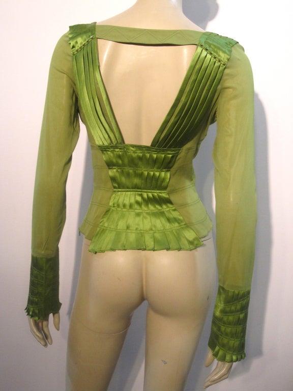 Gucci Peridot Green Chiffon and Satin Blouse For Sale 2