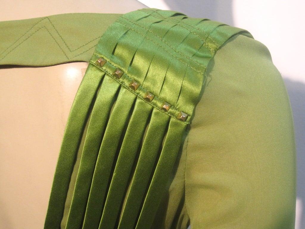 Gucci Peridot Green Chiffon and Satin Blouse For Sale 3