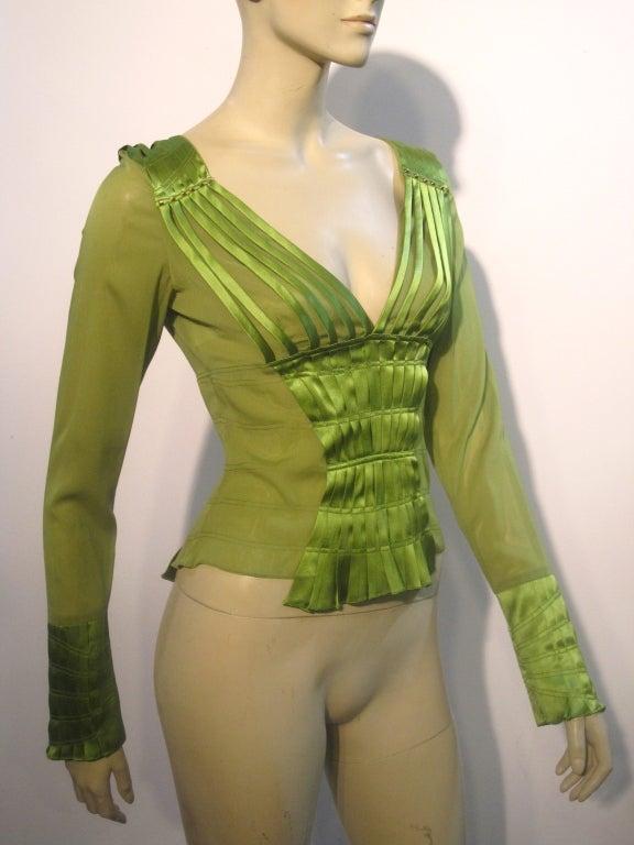 Gucci Peridot Green Chiffon and Satin Blouse For Sale 4