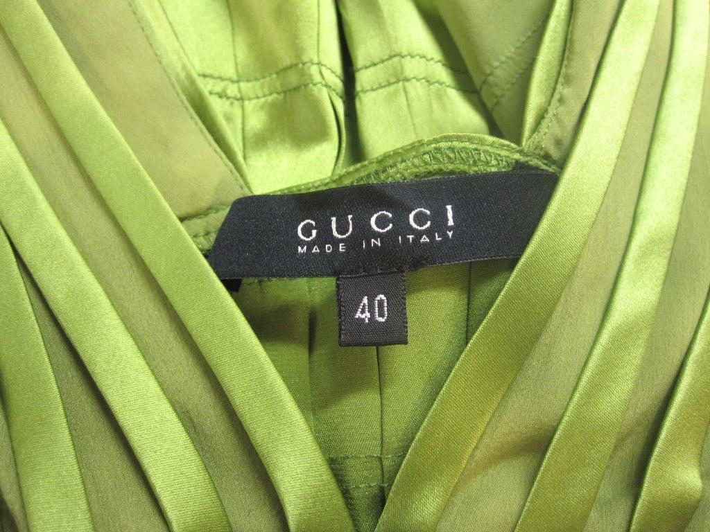 Gucci Peridot Green Chiffon and Satin Blouse For Sale 5