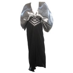 Wayne Clark Pleated Silver Lamé and Black Gown