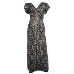 30s Silver and Black Lamé Gown in Bamboo Leaf Pattern