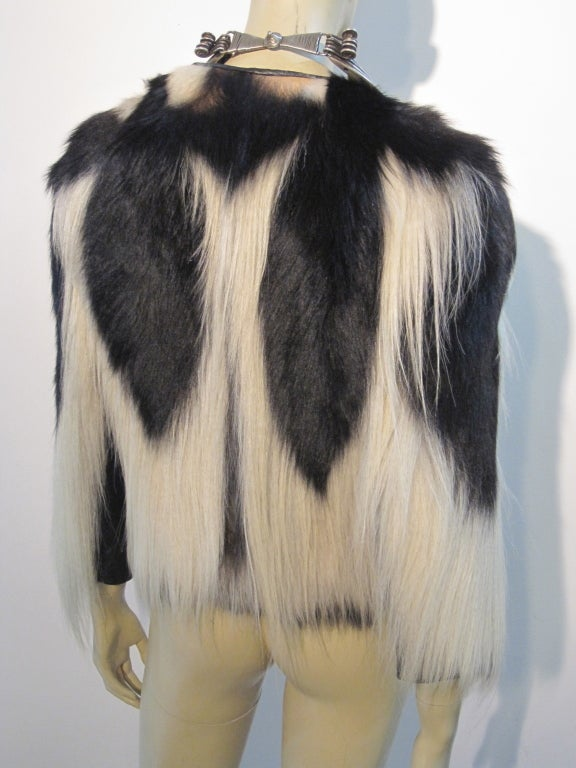 1920s Colobus Monkey Jacket In Natural Black And White At