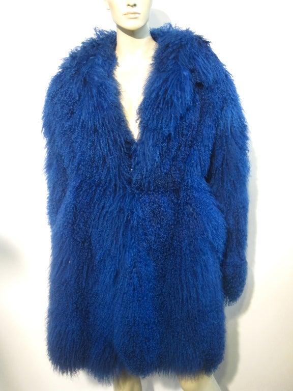 80s Neiman Marcus Cobalt Blue Mongolian Lamb Coat At 1stdibs