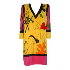 80s Fabrice Pop-Art Influenced Beaded, Embroidered Shift Dress