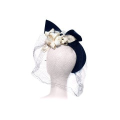 40s Navy Band Hat with Bouquet of White Flowers Under Brim