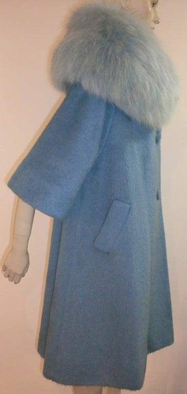 Lilli Ann Powder Blue Mohair 60s Coat With Blue Dyed Fox