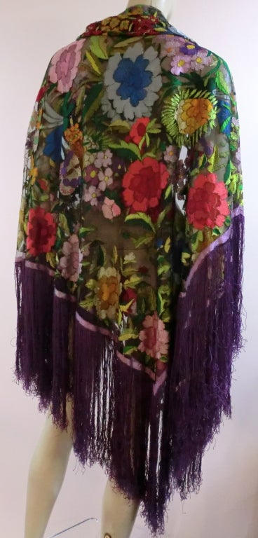 20s Floral Embroidered Tulle Shawl with Fringe 2