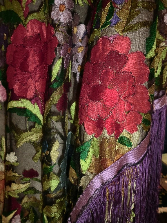20s Floral Embroidered Tulle Shawl with Fringe 3
