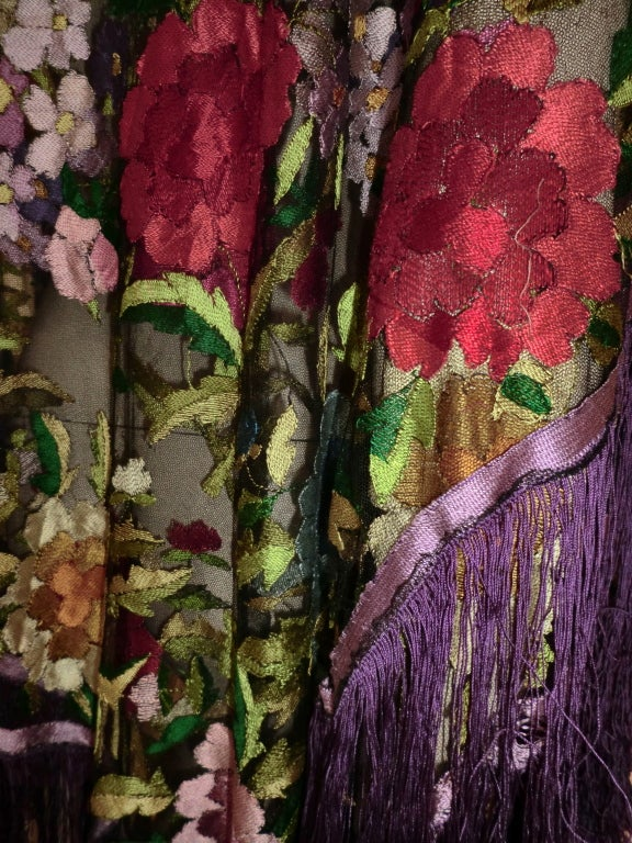 20s Floral Embroidered Tulle Shawl with Fringe 4