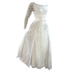 50s Lace Princess Wedding Gown Column w/ Overskirt
