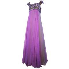 Helen Rose 60s Empire Silk Chiffon Gown w/ Beaded Bodice