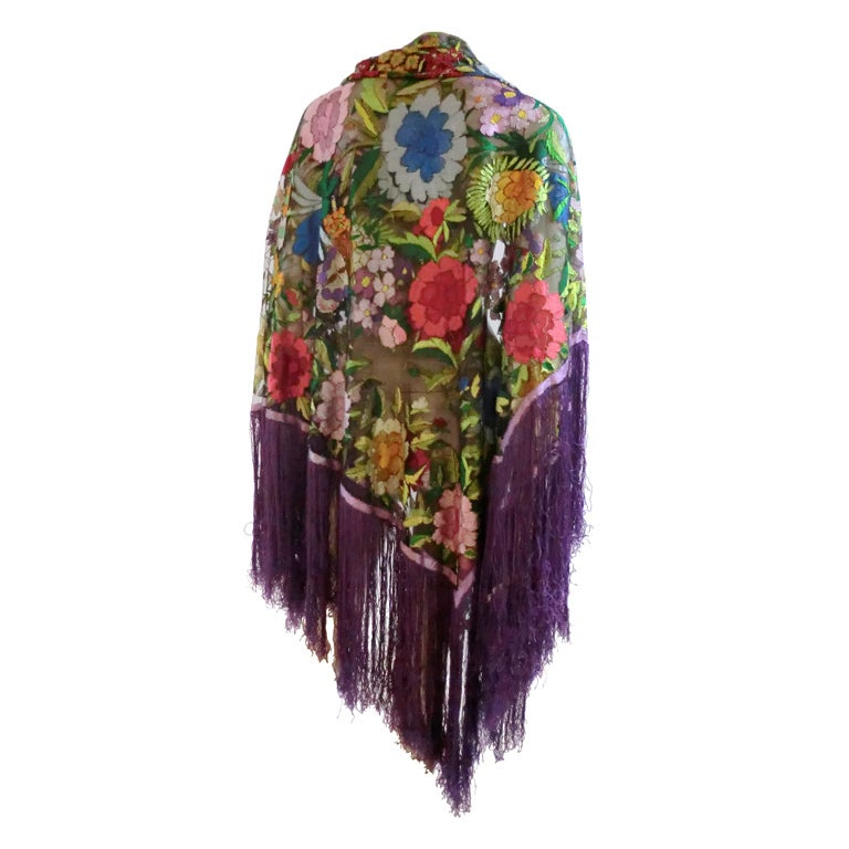 20s Floral Embroidered Tulle Shawl with Fringe 1