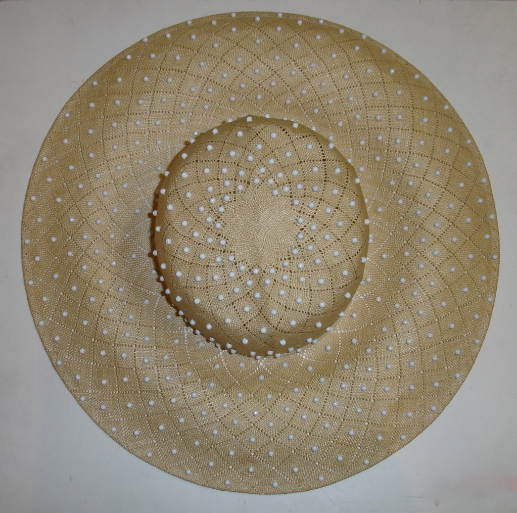 Beige 50s Irene of New York Straw Hat with White Studs For Sale