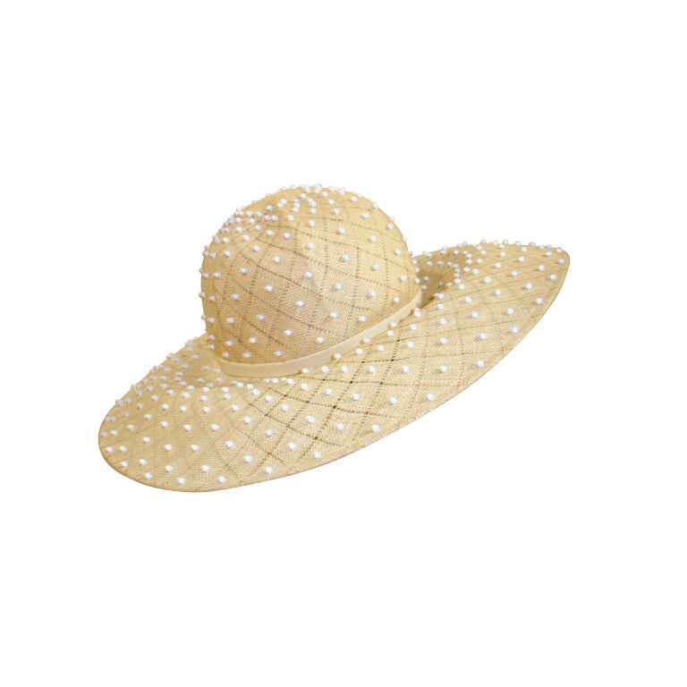 50s Irene of New York Straw Hat with White Studs For Sale