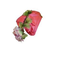 1950s Joseph Magnin Pink Satin Bandeau Hat w/ Flowers