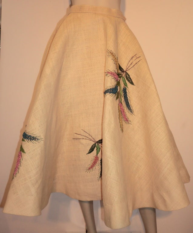 Unusual 50s Woven Straw & Raffia Embroidered Circle Skirt 2
