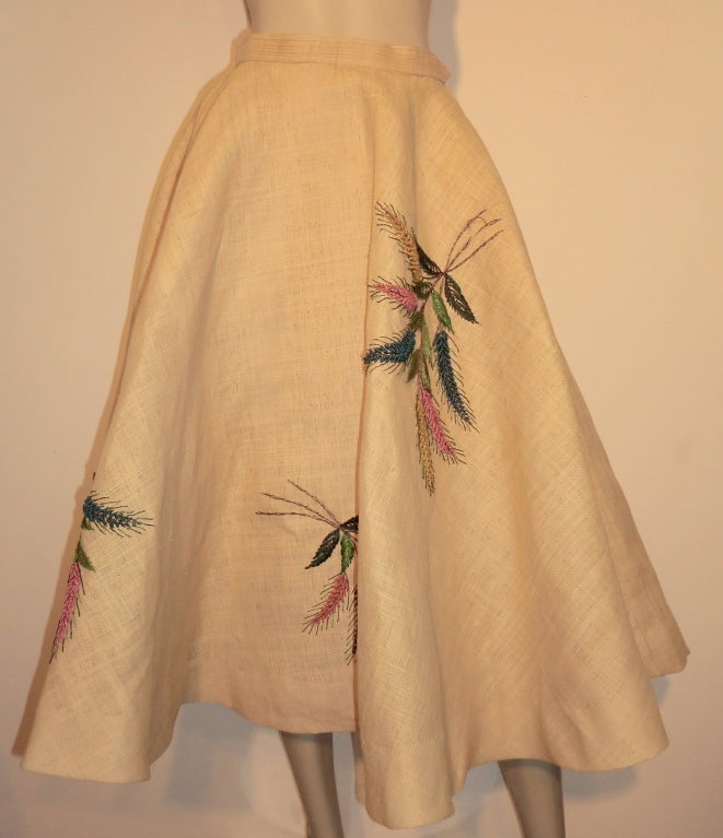 Unusual 50s Woven Straw & Raffia Embroidered Circle Skirt 3