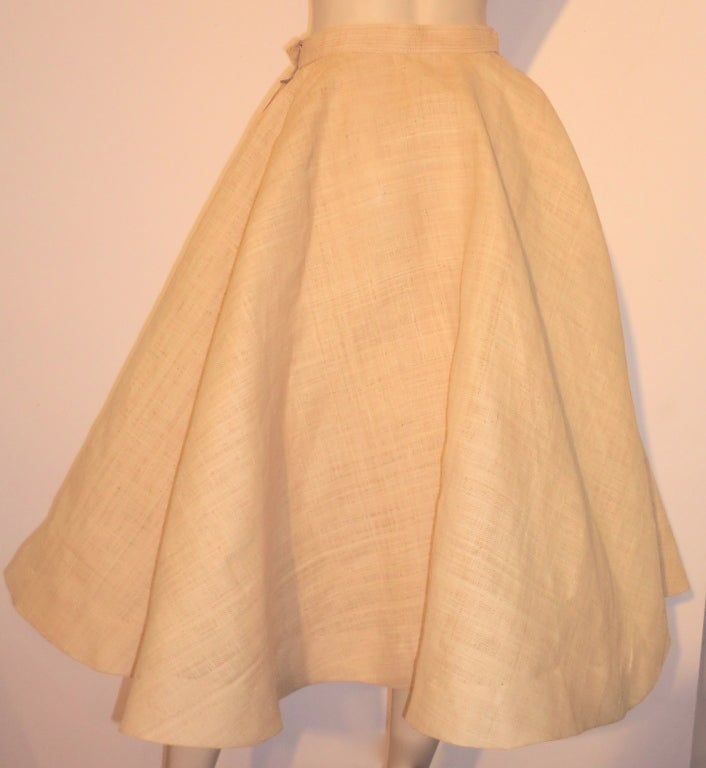 Unusual 50s Woven Straw & Raffia Embroidered Circle Skirt 5