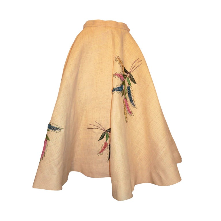 Unusual 50s Woven Straw & Raffia Embroidered Circle Skirt 1