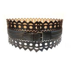 Azzedine Alaia Laser-Cut Wide Leather Belt
