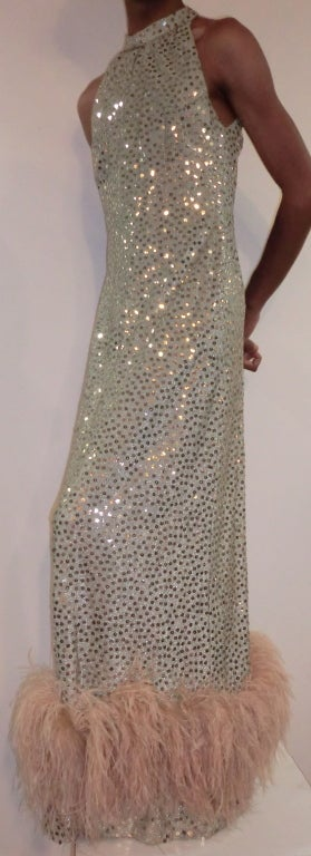 1970's Maurice Rentner 2 Piece Silver Sequined Gown 2