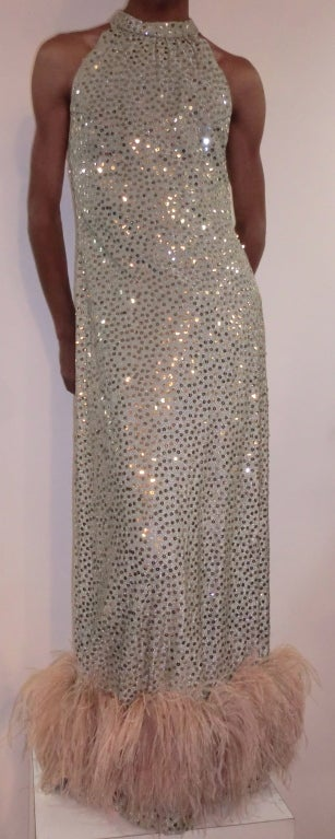 1970's Maurice Rentner 2 Piece Silver Sequined Gown 3