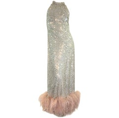 1970's Maurice Rentner 2 Piece Silver Sequined Gown