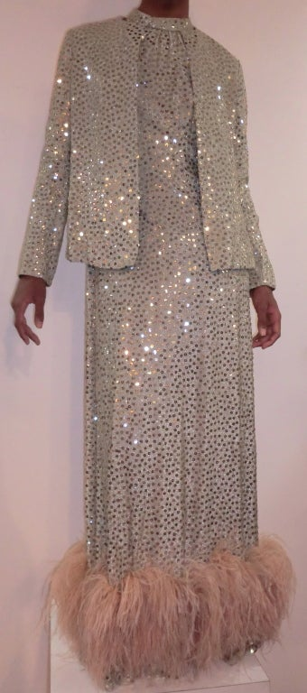 1970's Maurice Rentner 2 Piece Silver Sequined Gown 4