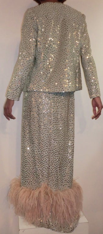 1970's Maurice Rentner 2 Piece Silver Sequined Gown 5