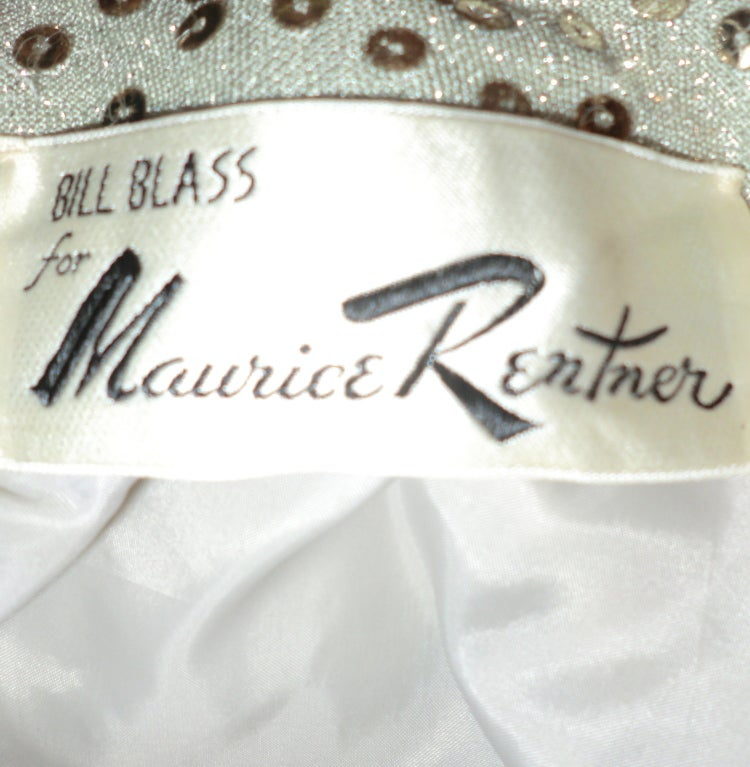 1970's Maurice Rentner 2 Piece Silver Sequined Gown 7