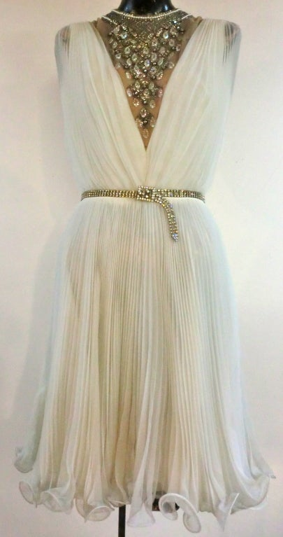 60s Pleated Jeweled Mini in White 2