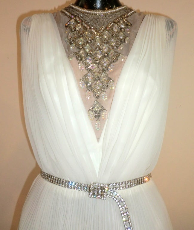 60s Pleated Jeweled Mini in White image 3