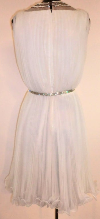 60s Pleated Jeweled Mini in White 4