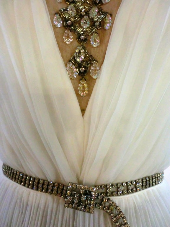 60s Pleated Jeweled Mini in White image 6
