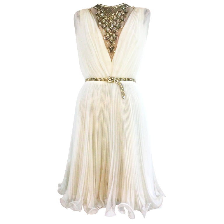 60s Pleated Jeweled Mini in White