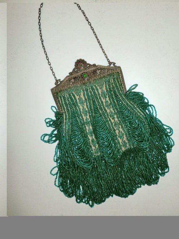 1920s Beaded Frame Evening Bag in Turquoise Beads 2